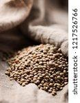 raw healthy brown lentil ... | Shutterstock . vector #1217526766