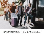 group of young people boarding... | Shutterstock . vector #1217532163