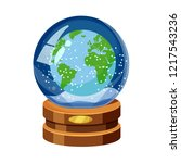snow globe with earth  world... | Shutterstock .eps vector #1217543236