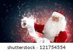 santa holding christmas letters ... | Shutterstock . vector #121754554