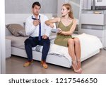 dissatisfied young woman... | Shutterstock . vector #1217546650