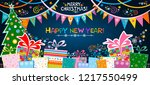 2019 happy new year and marry... | Shutterstock . vector #1217550499