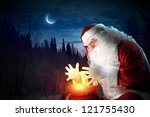 santa with beard and red hat... | Shutterstock . vector #121755430