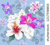 seamless pattern botanical with ... | Shutterstock .eps vector #1217558803