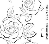 Roses Seamless Wallpaper. Blac...