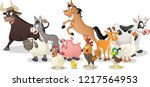 Stock vector group of farm cartoon animals vector illustration of funny happy animals 1217564953