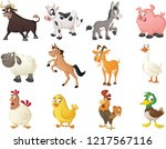group of farm cartoon animals.... | Shutterstock .eps vector #1217567116