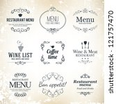 label set for restaurant menu... | Shutterstock .eps vector #121757470