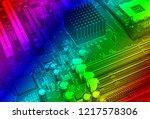 empty cpu processor socket with ... | Shutterstock . vector #1217578306