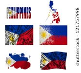 philippines flag and map in... | Shutterstock . vector #121757998