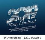 vector glossy merry christmas... | Shutterstock .eps vector #1217606059
