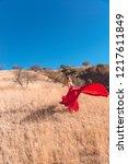 girl in a red dress in fields... | Shutterstock . vector #1217611849
