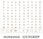collection of linear icons.... | Shutterstock .eps vector #1217618209