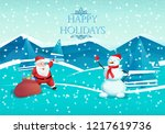 happy new year. santa claus and ... | Shutterstock .eps vector #1217619736
