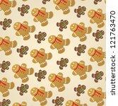 gingerbread pattern | Shutterstock .eps vector #121763470