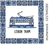 portugal landmarks set. lisbon... | Shutterstock .eps vector #1217640283