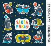 animal party sticker pack. lazy ... | Shutterstock .eps vector #1217640313