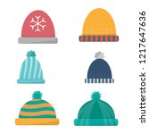 winter hats collection.vector... | Shutterstock .eps vector #1217647636