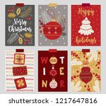 set of christmas greeting cards ... | Shutterstock .eps vector #1217647816