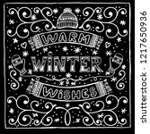 vector black and white winter... | Shutterstock .eps vector #1217650936