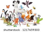Stock vector group of cartoon animals vector illustration of funny happy animals 1217659303