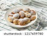 Homemade Dutch Poffertjes Pancakes with Powdered Sugar