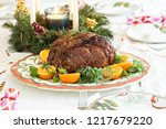 holiday christmas prime rib...   Shutterstock . vector #1217679220