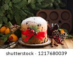 traditional christmas panettone ... | Shutterstock . vector #1217680039