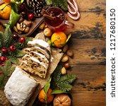 traditional christmass stollen... | Shutterstock . vector #1217680150