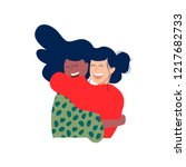 two woman friends hugging and... | Shutterstock .eps vector #1217682733