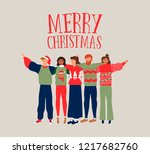 merry christmas greeting card...   Shutterstock .eps vector #1217682760