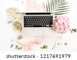 woman home office desk with... | Shutterstock . vector #1217691979
