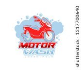motorcycle wash logo template | Shutterstock .eps vector #1217700640