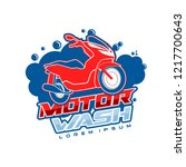 motorcycle wash logo template | Shutterstock .eps vector #1217700643