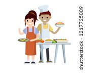 a woman in a red apron cooks... | Shutterstock .eps vector #1217725009