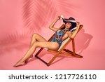 summer lifestyle fashion... | Shutterstock . vector #1217726110