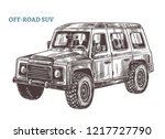 vector off road suv car.  hand... | Shutterstock .eps vector #1217727790