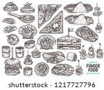 set of restaurant  cafe finger... | Shutterstock .eps vector #1217727796