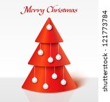 red 3d abstract christmas tree... | Shutterstock .eps vector #121773784