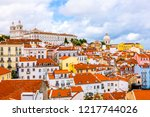 lisbon  portugal town skyline... | Shutterstock . vector #1217744026