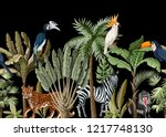 seamless border with tropical... | Shutterstock .eps vector #1217748130