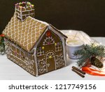 gingerbread house. christmas... | Shutterstock . vector #1217749156