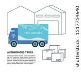 self driving truck and... | Shutterstock .eps vector #1217754640