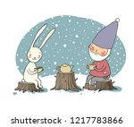 Stock vector the gnome and the hare drink tea in the forest elf and rabbit on a picnic greeting card winter 1217783866
