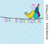 doodle birds couple among... | Shutterstock .eps vector #121779424