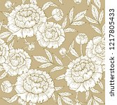 seamless pattern with peony on... | Shutterstock .eps vector #1217805433