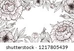 frame of flowers with peonies... | Shutterstock .eps vector #1217805439