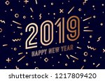 2019  happy new year  gold.... | Shutterstock .eps vector #1217809420