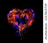fire heart isolated on black... | Shutterstock . vector #1217815729