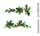 holly nature branches set | Shutterstock .eps vector #1217835760